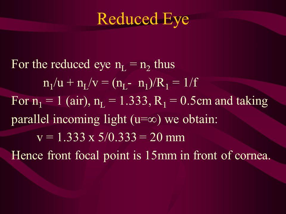 Reduced Eye For the reduced eye n L = n 2 thus n 1 /u + n L /v = (n L - n 1 )/R 1 = 1/f For n 1 = 1 (air), n L = 1.333, R 1 = 0.5cm and taking paralle