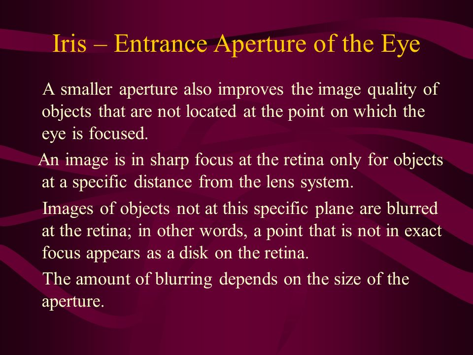 Iris – Entrance Aperture of the Eye A smaller aperture also improves the image quality of objects that are not located at the point on which the eye i