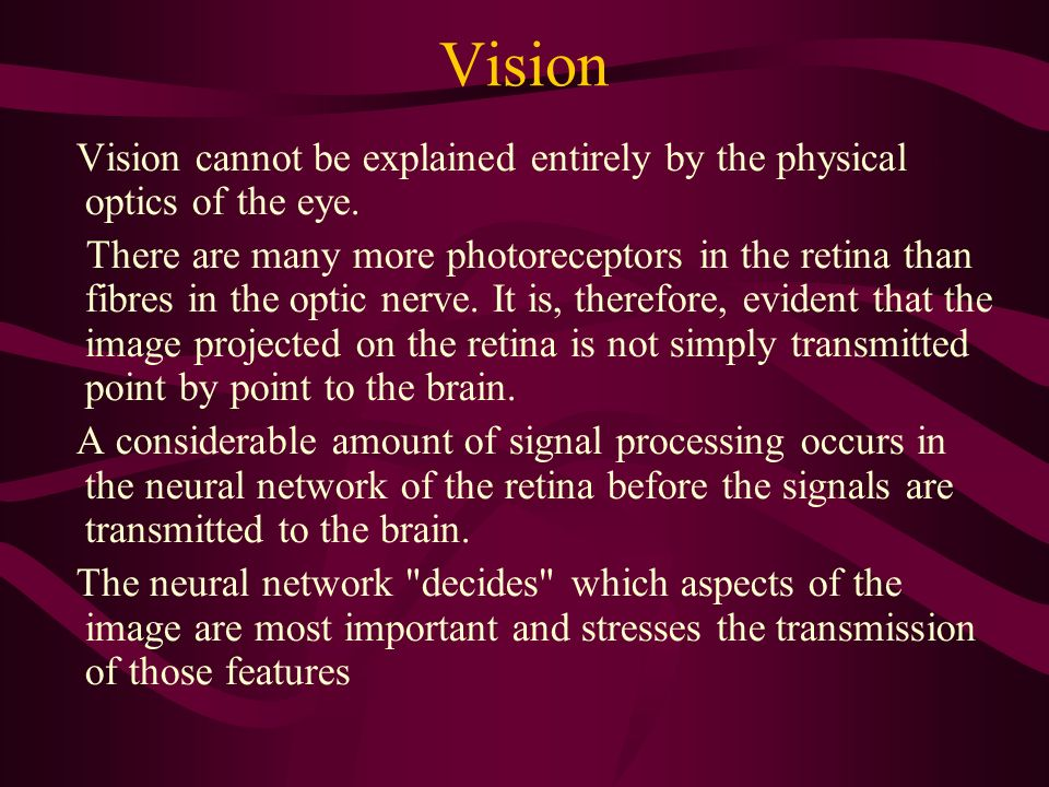 Vision Vision cannot be explained entirely by the physical optics of the eye. There are many more photoreceptors in the retina than fibres in the opti