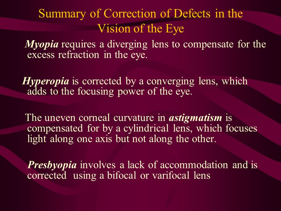 Summary of Correction of Defects in the Vision of the Eye Myopia requires a diverging lens to compensate for the excess refraction in the eye. Hyperop