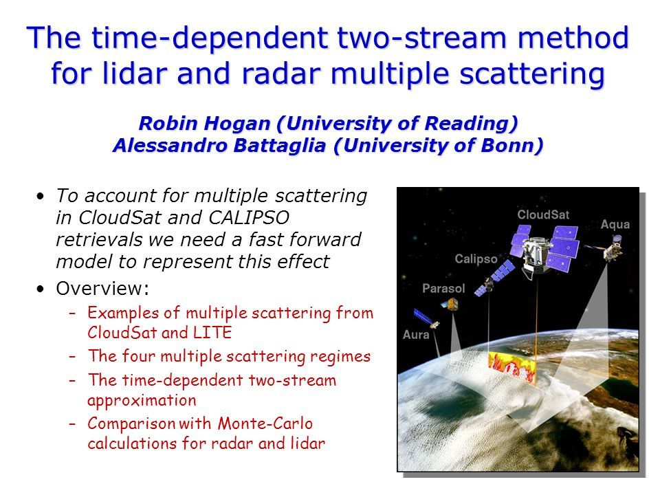 Examples of multiple scattering LITE lidar (<r, footprint~1 km) CloudSat radar (>r)Stratocumulus Intense thunderstorm Surface echo Apparent echo from below the surface