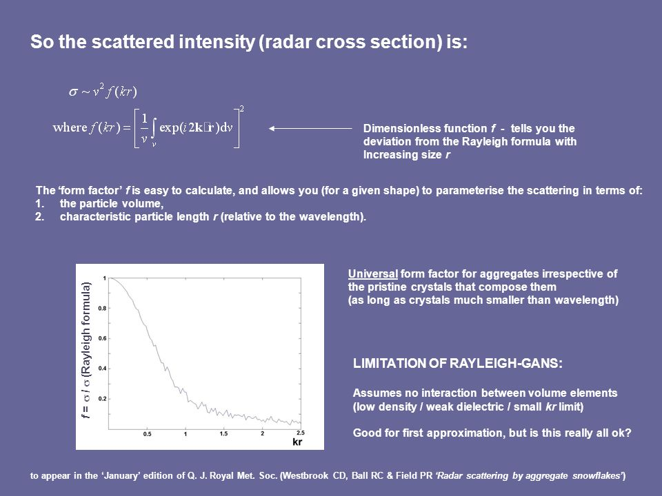 So the scattered intensity (radar cross section) is: Dimensionless function f - tells you the deviation from the Rayleigh formula with Increasing size r The form factor f is easy to calculate, and allows you (for a given shape) to parameterise the scattering in terms of: 1.the particle volume, 2.characteristic particle length r (relative to the wavelength).