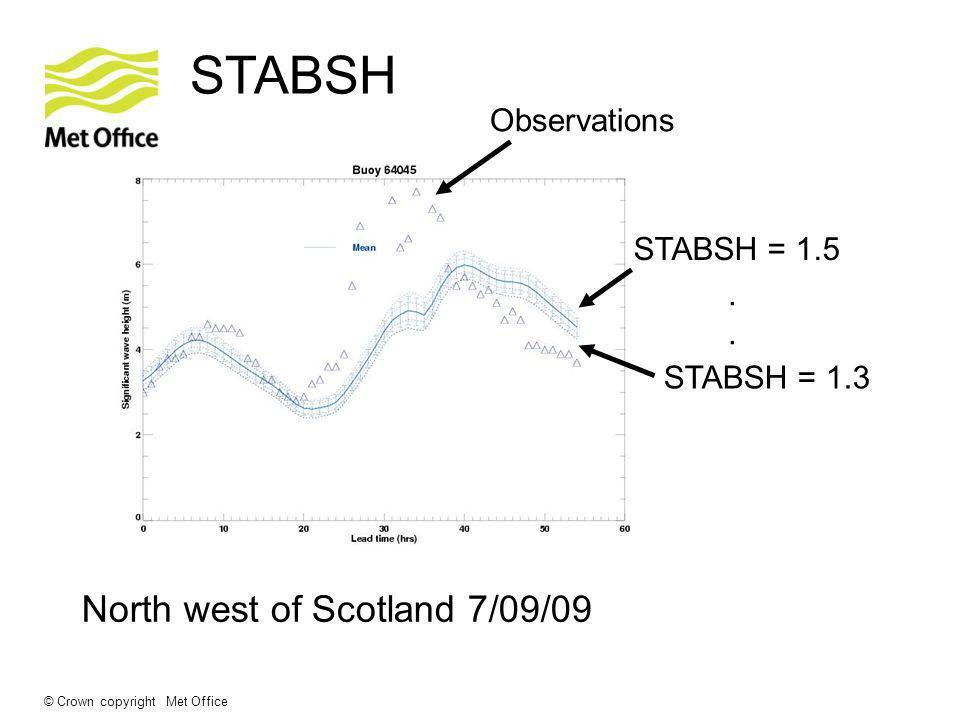 © Crown copyright Met Office STABSH North west of Scotland 7/09/09 STABSH = 1.5 STABSH = 1.3. Observations