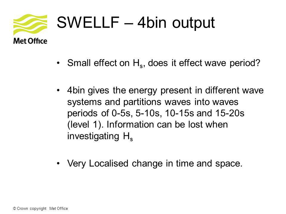 © Crown copyright Met Office SWELLF – 4bin output Small effect on H s, does it effect wave period? 4bin gives the energy present in different wave sys