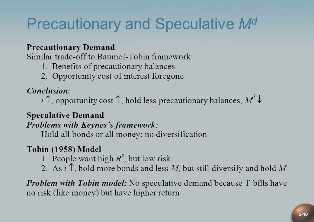 5-10 Precautionary and Speculative M d Precautionary Demand Similar trade-off to Baumol-Tobin framework 1. Benefits of precautionary balances 2. Oppor
