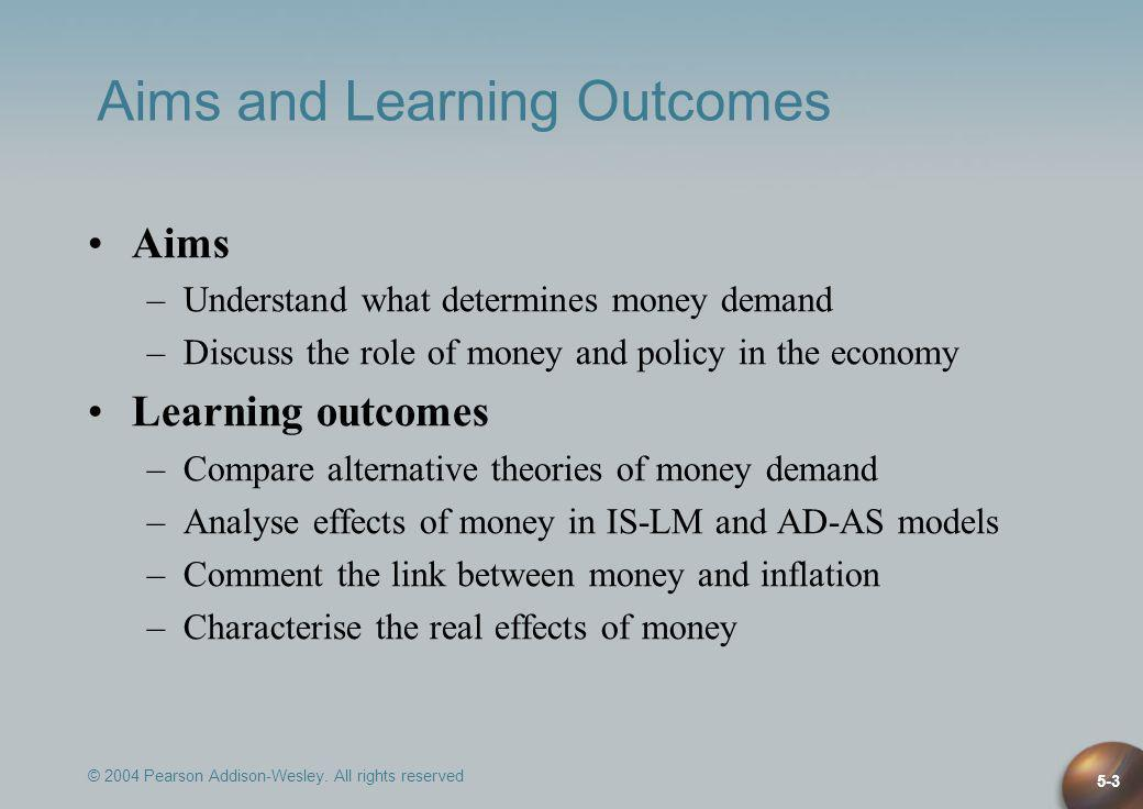 © 2004 Pearson Addison-Wesley. All rights reserved 5-3 Aims and Learning Outcomes Aims –Understand what determines money demand –Discuss the role of m