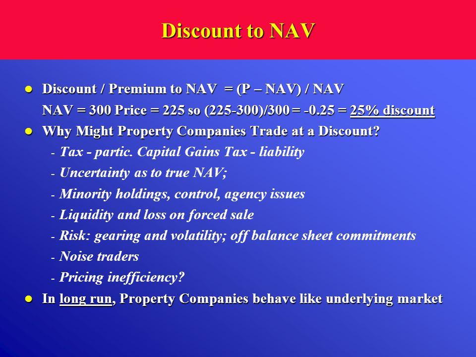 Discount to NAV Discount / Premium to NAV = (P – NAV) / NAV Discount / Premium to NAV = (P – NAV) / NAV NAV = 300 Price = 225 so (225-300)/300 = -0.25