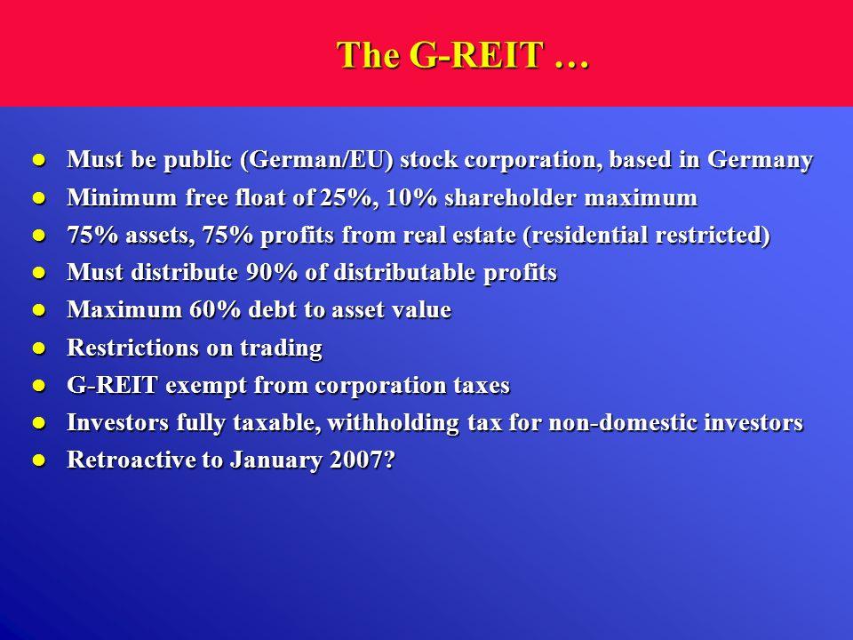 The G-REIT … Must be public (German/EU) stock corporation, based in Germany Must be public (German/EU) stock corporation, based in Germany Minimum fre