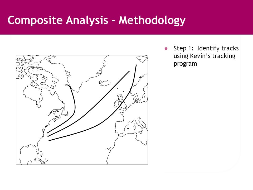 Composite Analysis - Methodology Step 1: Identify tracks using Kevins tracking program