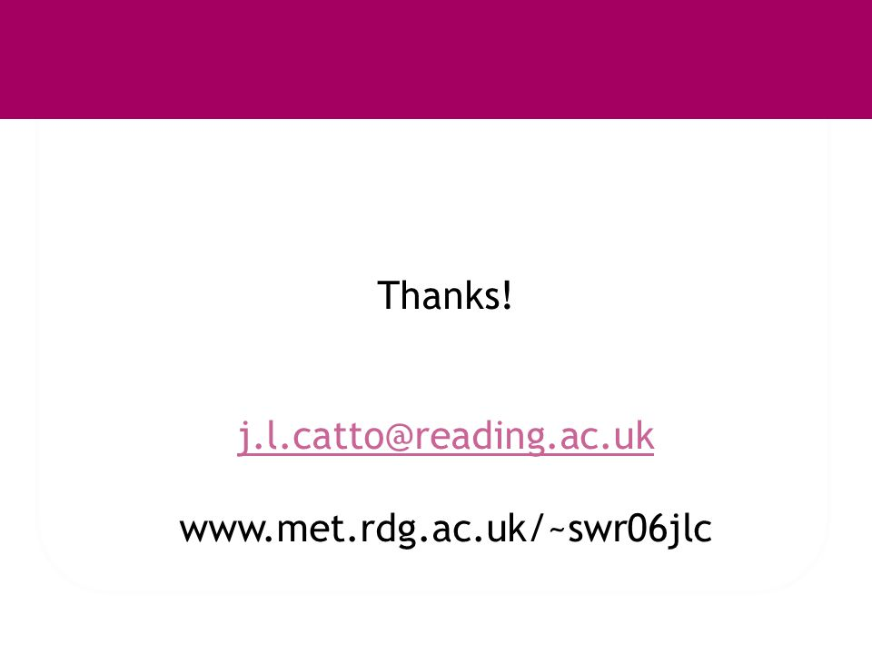 Thanks! j.l.catto@reading.ac.uk www.met.rdg.ac.uk/~swr06jlc