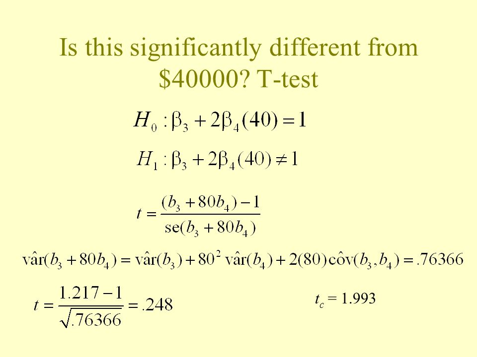 Is this significantly different from $40000 T-test t c = 1.993