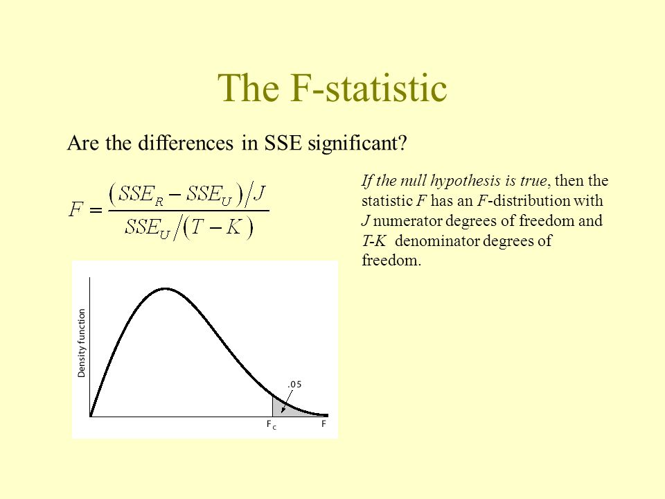 The F-statistic Are the differences in SSE significant? If the null hypothesis is true, then the statistic F has an F-distribution with J numerator de