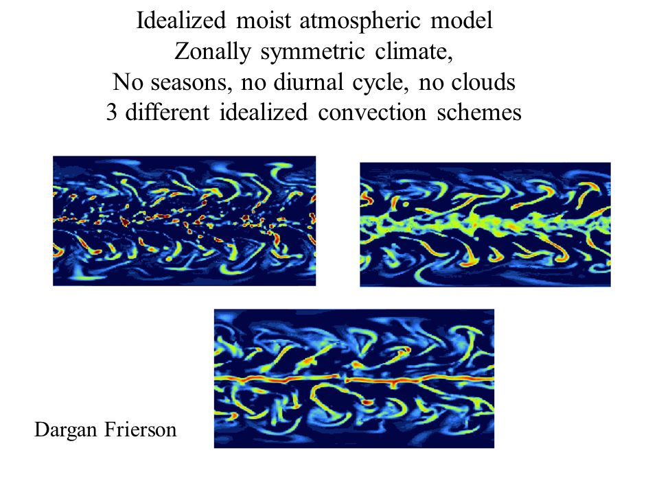 Idealized moist atmospheric model Zonally symmetric climate, No seasons, no diurnal cycle, no clouds 3 different idealized convection schemes Dargan Frierson