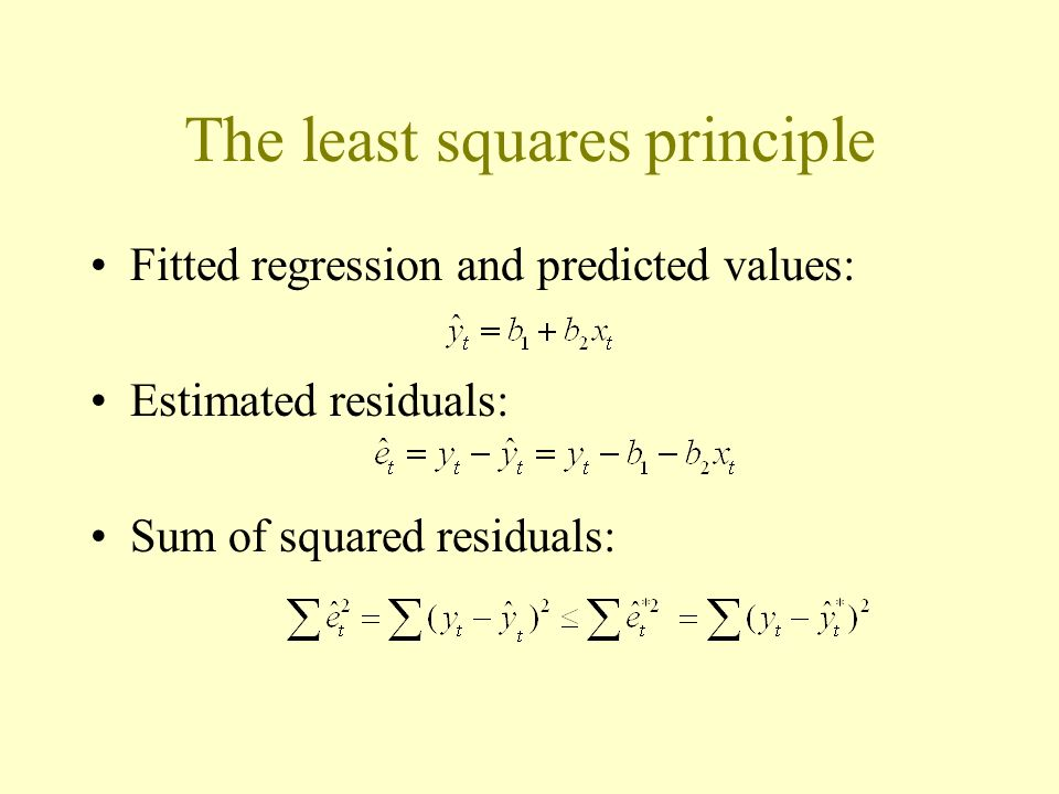 The least squares principle Fitted regression and predicted values: Estimated residuals: Sum of squared residuals: