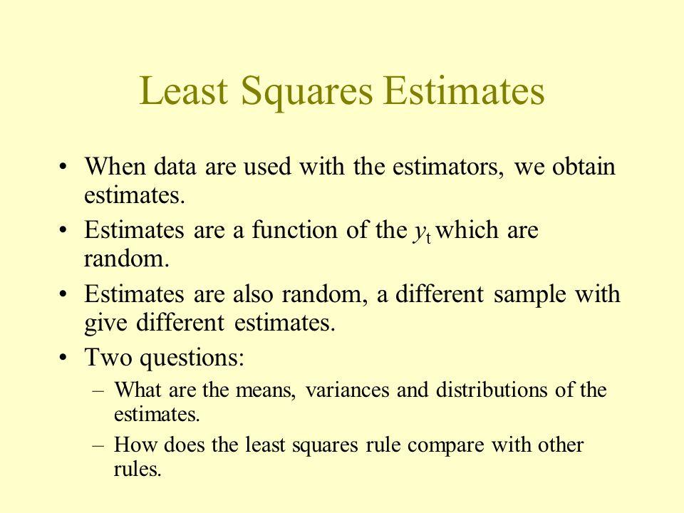 Least Squares Estimates When data are used with the estimators, we obtain estimates.