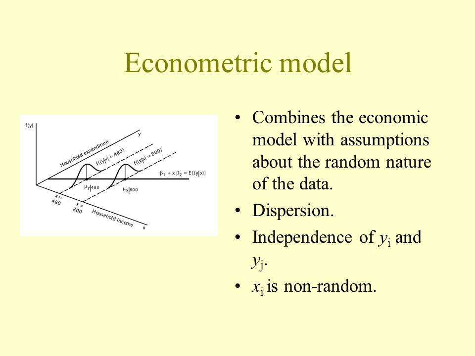 Combines the economic model with assumptions about the random nature of the data.