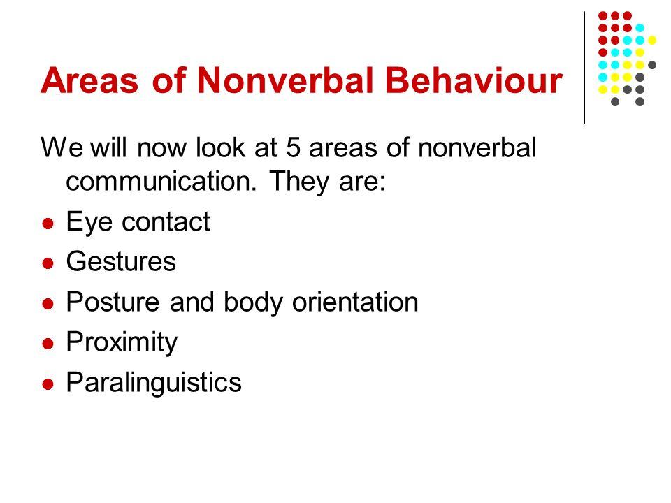 Areas of Nonverbal Behaviour We will now look at 5 areas of nonverbal communication. They are: Eye contact Gestures Posture and body orientation Proxi