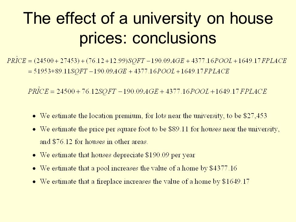 The effect of a university on house prices: conclusions