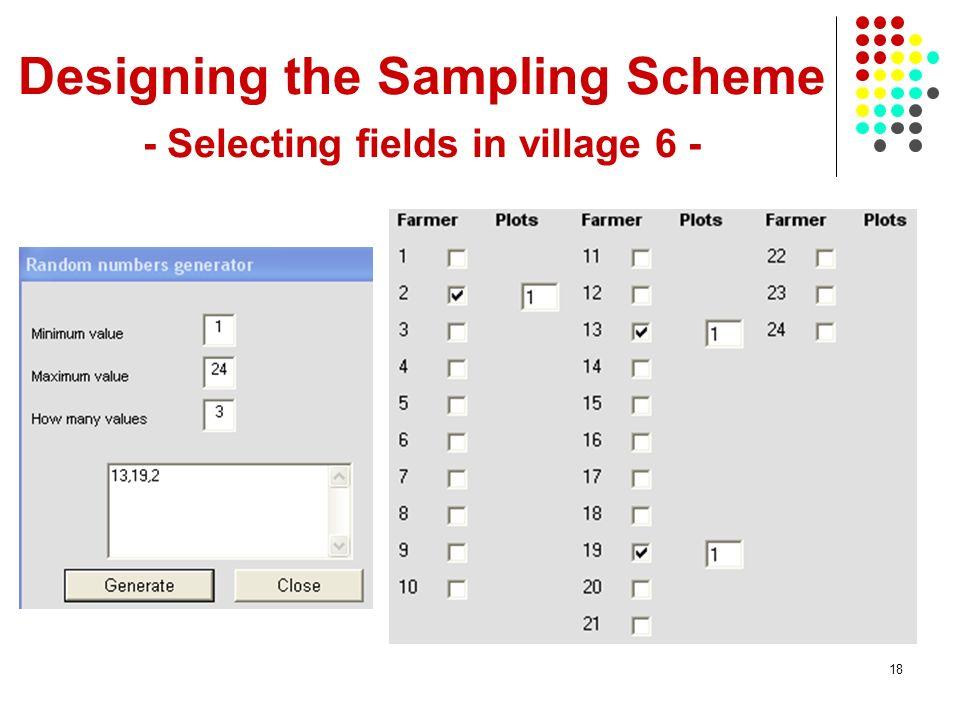 18 Designing the Sampling Scheme - Selecting fields in village 6 -