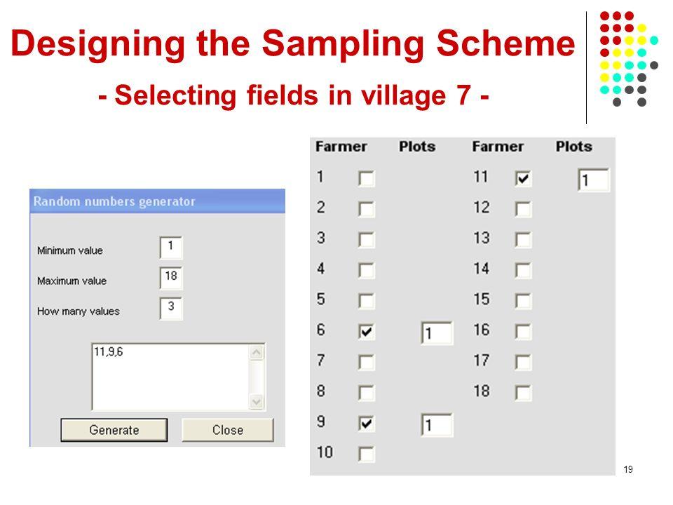 19 Designing the Sampling Scheme - Selecting fields in village 7 -