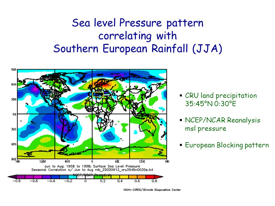 CRU land precipitation 35:45°N 0:30°E NCEP/NCAR Reanalysis msl pressure European Blocking pattern Sea level Pressure pattern correlating with Southern