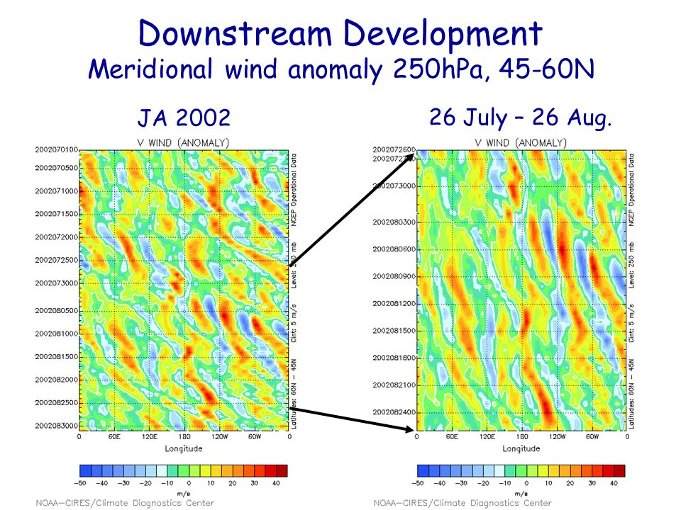 Downstream Development Meridional wind anomaly 250hPa, 45-60N JA 2002 26 July – 26 Aug.