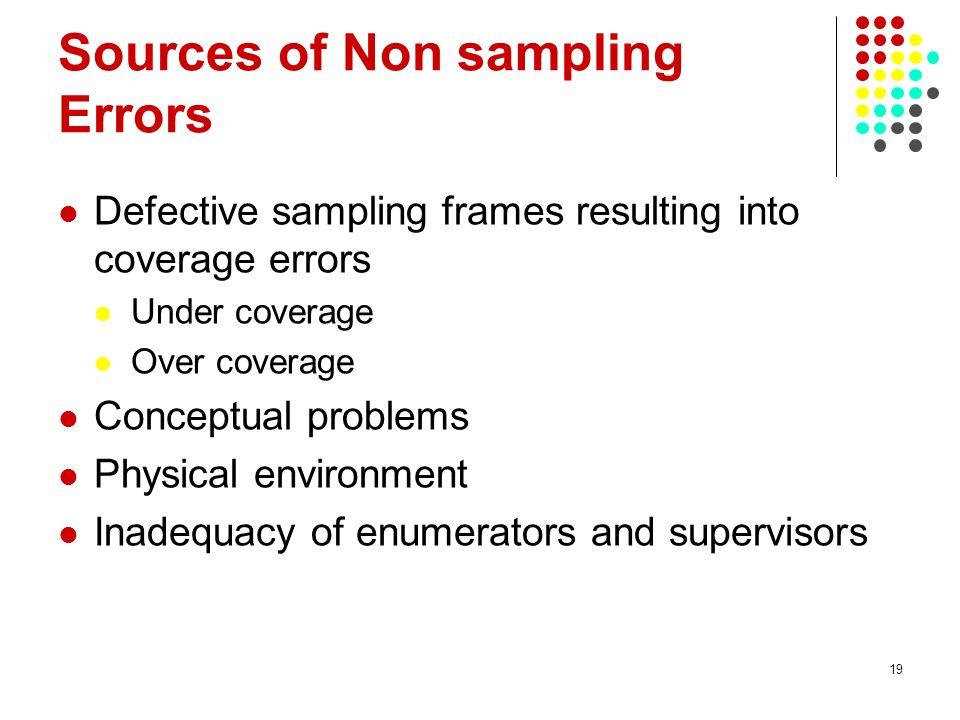 19 Sources of Non sampling Errors Defective sampling frames resulting into coverage errors Under coverage Over coverage Conceptual problems Physical e