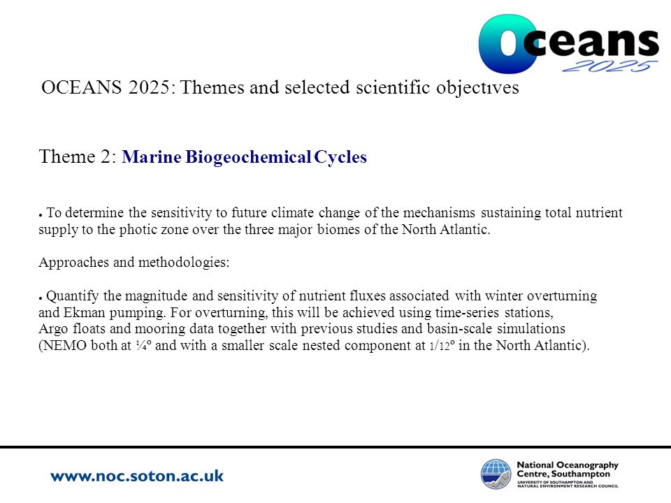 OCEANS 2025: Themes and selected scientific objectives Theme 2: Marine Biogeochemical Cycles To determine the sensitivity to future climate change of