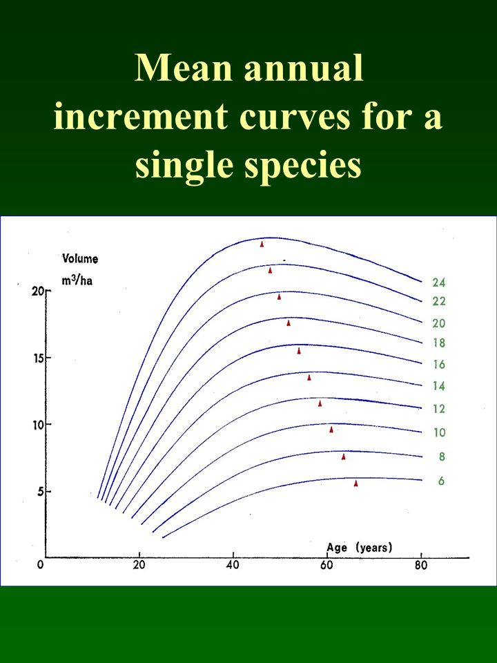 Mean annual increment curves for a single species