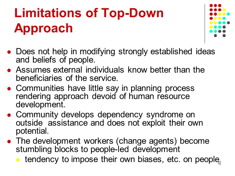 10 Does not help in modifying strongly established ideas and beliefs of people. Assumes external individuals know better than the beneficiaries of the