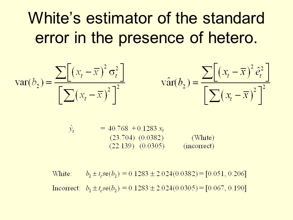 Whites estimator of the standard error in the presence of hetero.