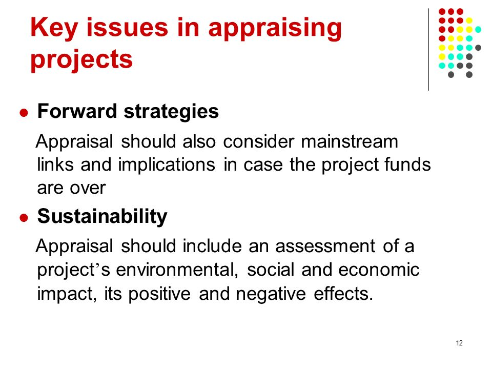 12 Key issues in appraising projects Forward strategies Appraisal should also consider mainstream links and implications in case the project funds are