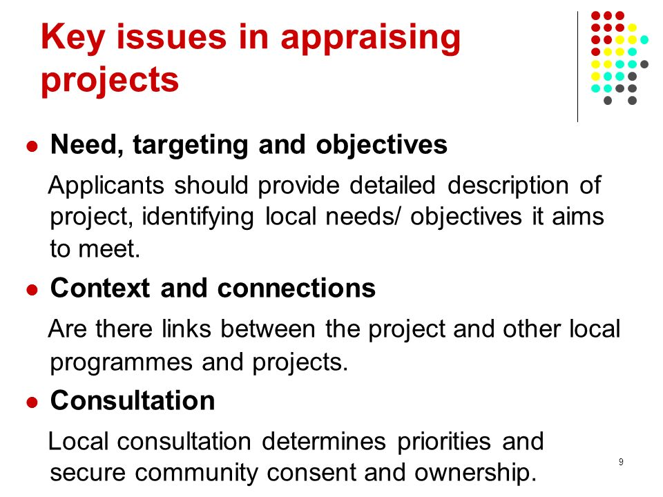 9 Key issues in appraising projects Need, targeting and objectives Applicants should provide detailed description of project, identifying local needs/