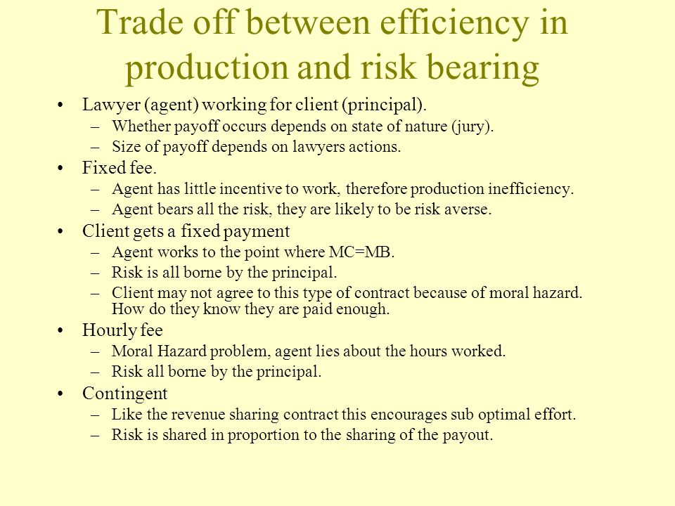 Trade off between efficiency in production and risk bearing Lawyer (agent) working for client (principal). –Whether payoff occurs depends on state of