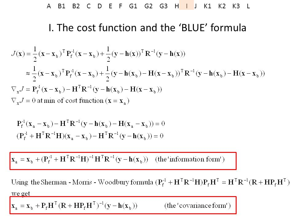 A B1 B2 C D E F G1 G2 G3 H I J K1 K2 K3 L I. The cost function and the BLUE formula