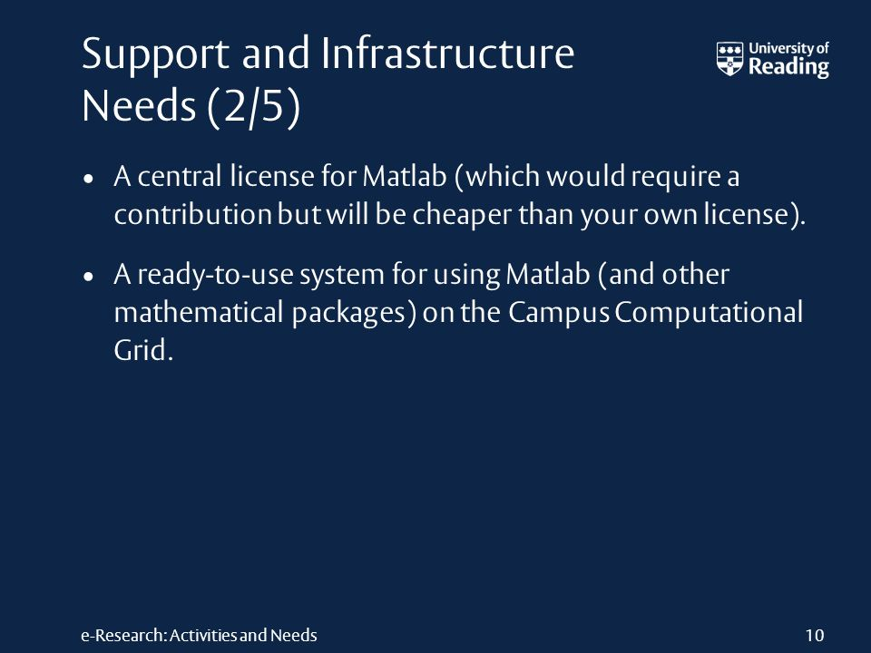 e-Research: Activities and Needs Support and Infrastructure Needs (2/5) A central license for Matlab (which would require a contribution but will be cheaper than your own license).