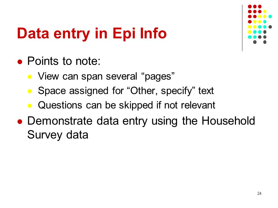 Data entry in Epi Info Points to note: View can span several pages Space assigned for Other, specify text Questions can be skipped if not relevant Demonstrate data entry using the Household Survey data 24