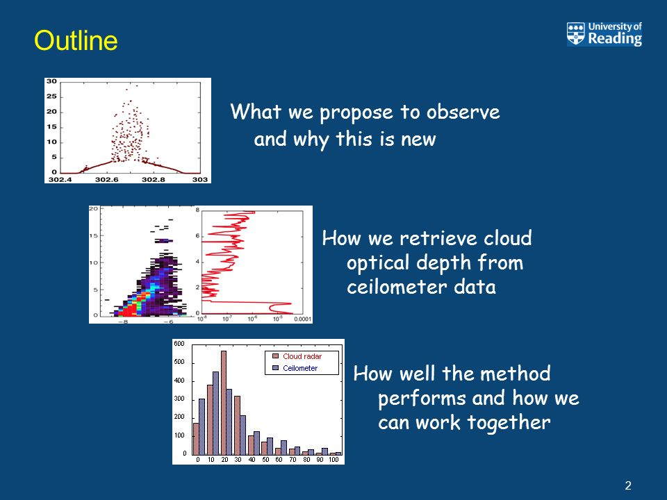 Outline 2 How well the method performs and how we can work together What we propose to observe and why this is new How we retrieve cloud optical depth