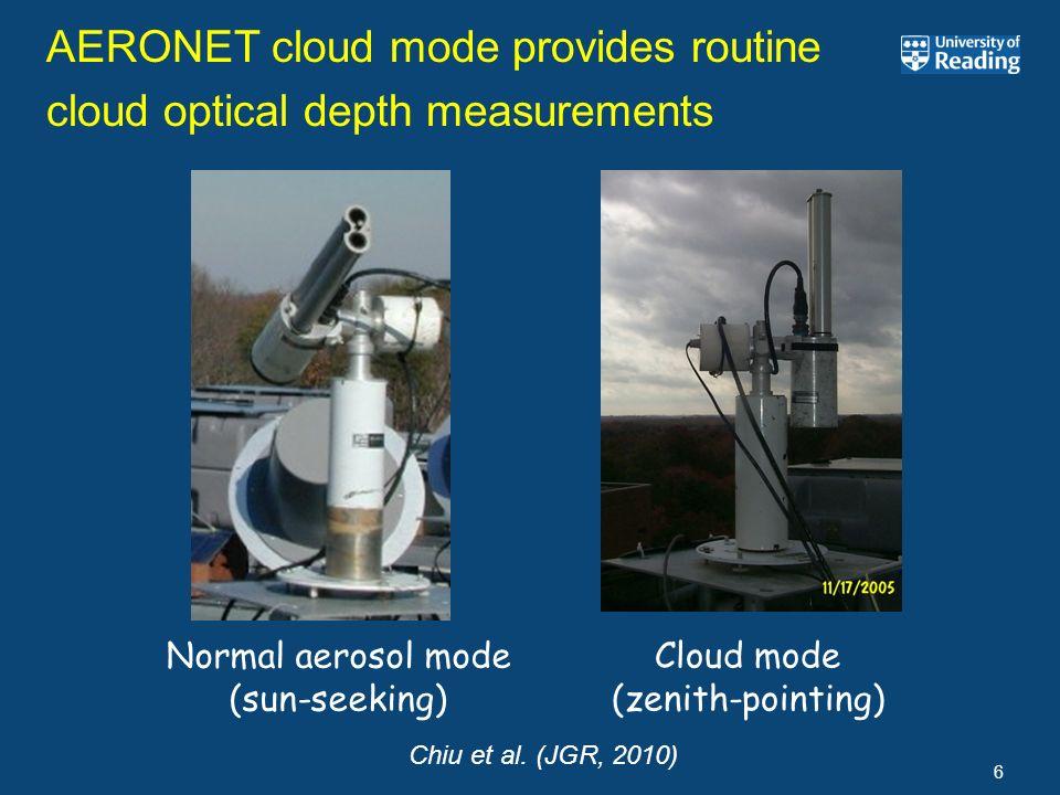 6 AERONET cloud mode provides routine cloud optical depth measurements Normal aerosol mode (sun-seeking) Cloud mode (zenith-pointing) Chiu et al. (JGR