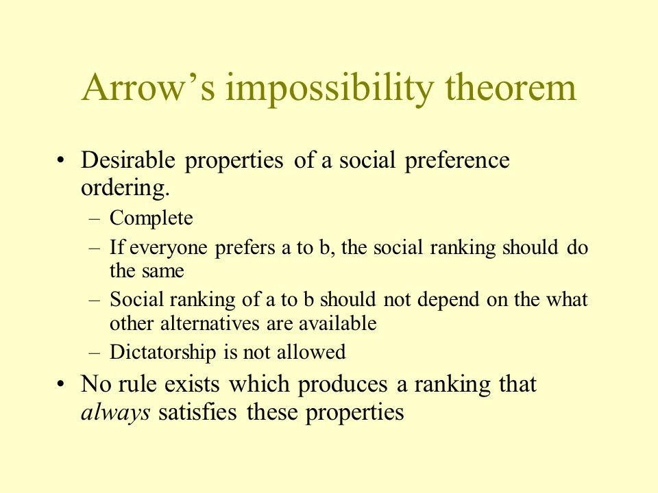 Arrows impossibility theorem Desirable properties of a social preference ordering. –Complete –If everyone prefers a to b, the social ranking should do