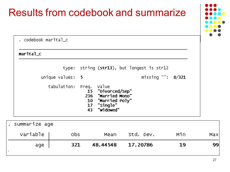 27 Results from codebook and summarize