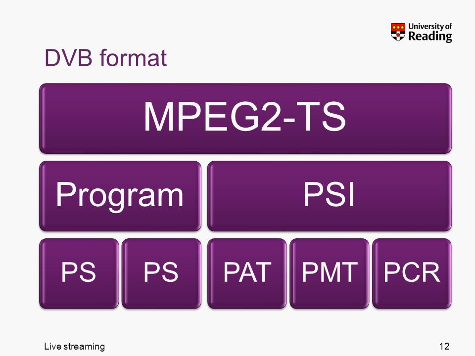 Live streaming DVB format MPEG2-TS Program PS PSI PATPMTPCR 12