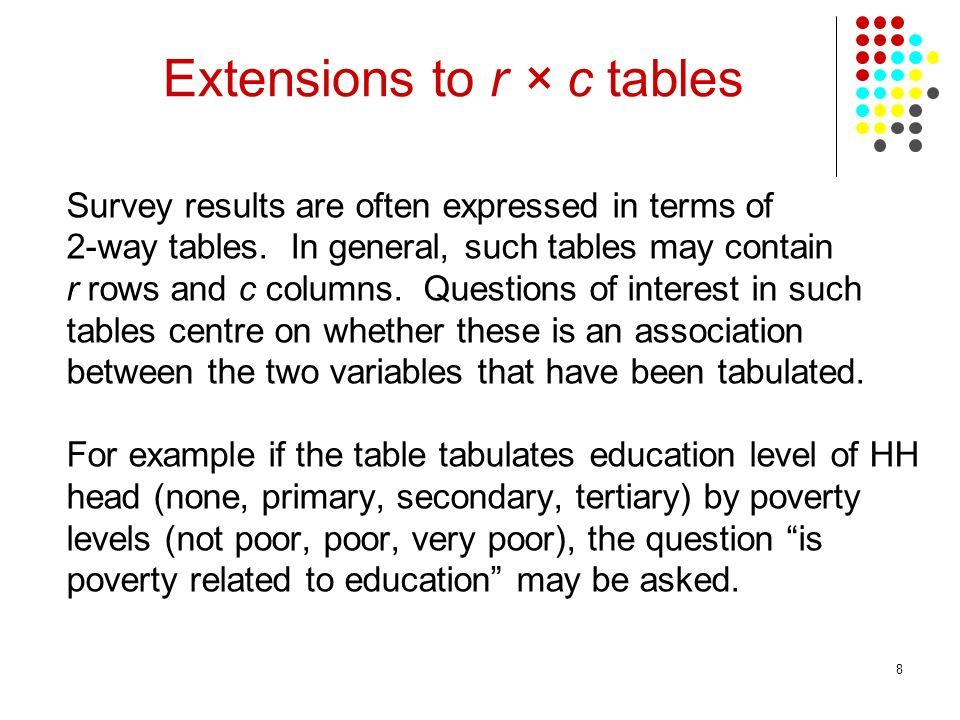 8 Survey results are often expressed in terms of 2-way tables.