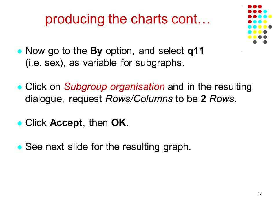15 producing the charts cont… Now go to the By option, and select q11 (i.e.