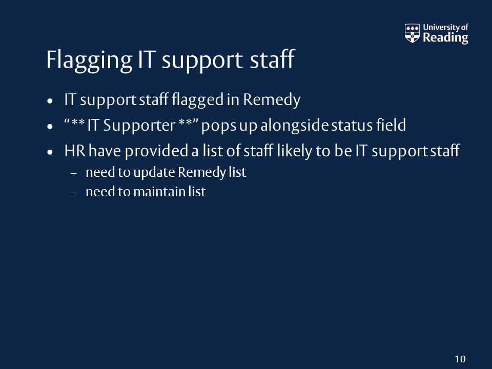Flagging IT support staff IT support staff flagged in Remedy ** IT Supporter ** pops up alongside status field HR have provided a list of staff likely