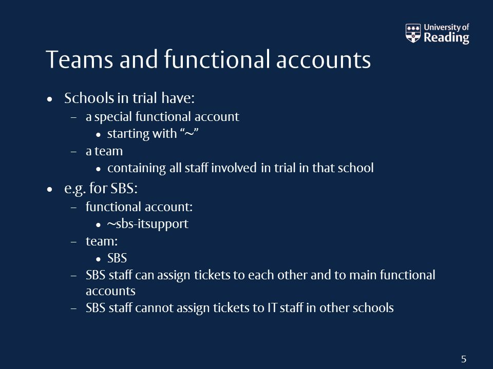 Teams and functional accounts Schools in trial have: – a special functional account starting with ~ – a team containing all staff involved in trial in