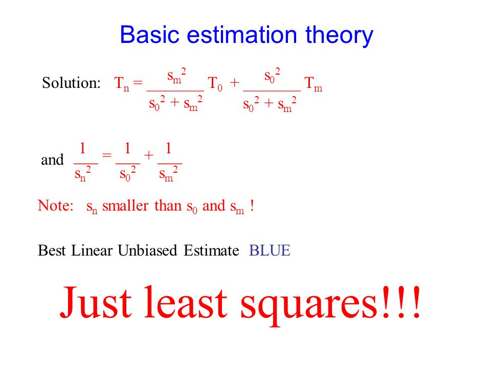 Basic estimation theory 2) E{e n 2 } minimal gives: E{e n 2 } = E{(T n –T) 2 } = E{(aT 0 + bT m – T) 2 } = = E{(ae 0 +be m ) 2 } = a 2 E{e 0 2 } + b 2