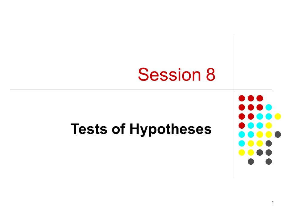 1 Session 8 Tests of Hypotheses