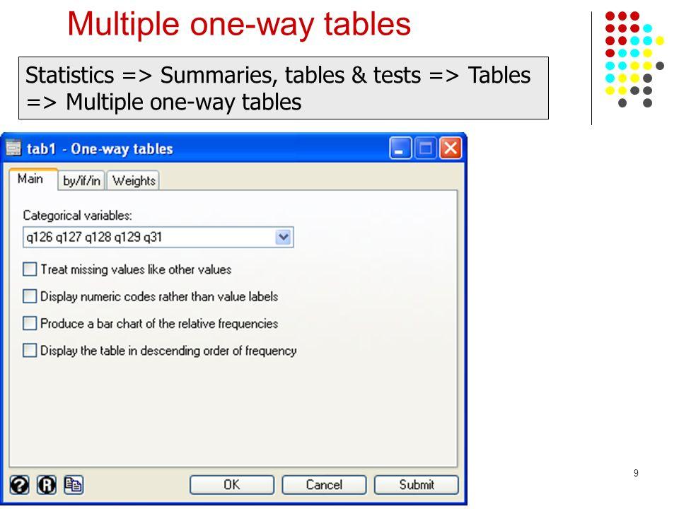 9 Multiple one-way tables Statistics => Summaries, tables & tests => Tables => Multiple one-way tables