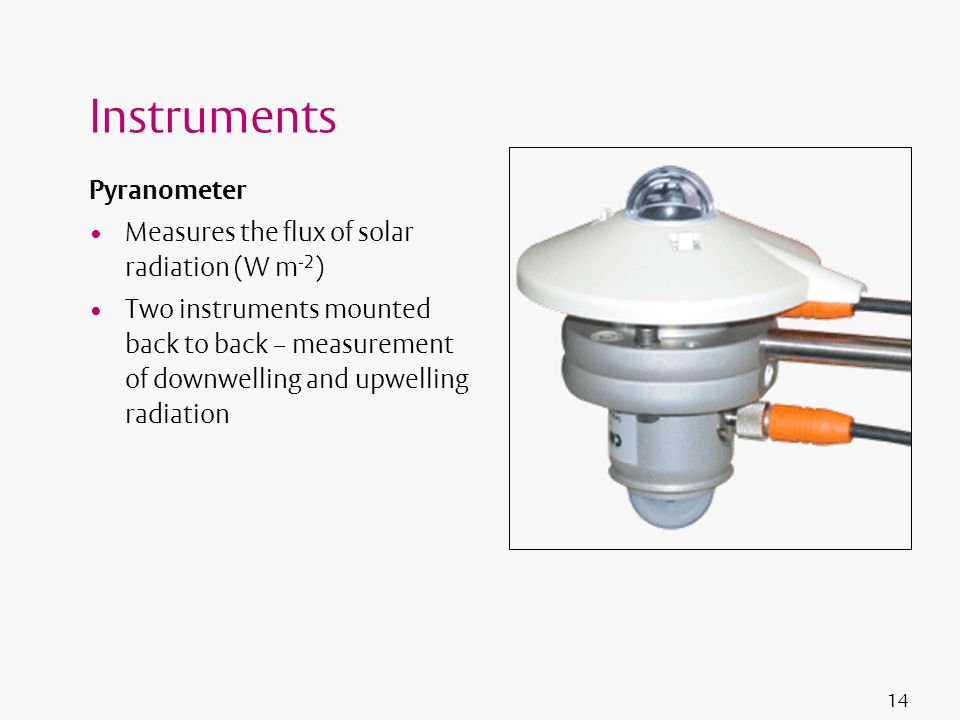 14 Instruments Pyranometer Measures the flux of solar radiation (W m -2 ) Two instruments mounted back to back – measurement of downwelling and upwell